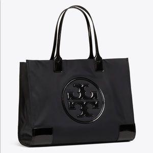 Tory Burch Ella Patent Mini Tote in Black